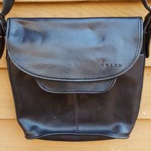 Vintage black leather coach purse made in America